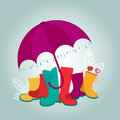 Umbrella boots and birds raindrops leaves spring weather concept Royalty Free Stock Photography