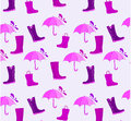 Umbrella and boots pattern Royalty Free Stock Images