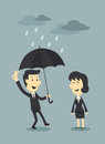 Umbrella and cloud businessman with Stock Photo