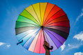 Colorful umbrella on the sky Royalty Free Stock Photo