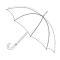 Umbrella coloring, vector sketch. Black and white open umbrella, isolated on white background