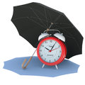 Umbrella covers the alarm clock isolated render on a white background Royalty Free Stock Photos