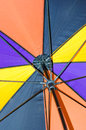 Umbrella detail of a multicolored turned over and linkage Stock Photos