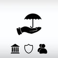Umbrella with hand icon, vector illustration. Flat design style