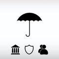 Umbrella icon, vector illustration. Flat design style
