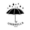 Umbrella icon, vector logo. Black umbrella silhouette