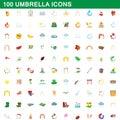 100 umbrella icons set, cartoon style