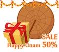 Umbrella of King Mahabali and gift box. Happy Onam festival in K