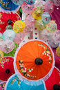Umbrella made ​​of paper fabric arts and crafts of the village bo sang chiang mai thailand Stock Photos