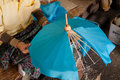 Umbrella made ​​of paper fabric arts and crafts of the village bo sang chiang mai thailand Royalty Free Stock Photo