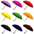Umbrella many colorful for the rainy season purple ping red yellow green orange black blue brow illustrator for your work vector Royalty Free Stock Images