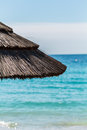 Umbrella on a mediterranean beach var south of france provence Stock Photos