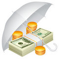 Umbrella and money. Royalty Free Stock Images