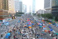 Umbrella movement in hong kong the occupy central start on sep announced the beginning of occupy central at the central government Stock Images
