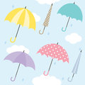 Umbrella pattern illustration of umbrellas also works as seamless Stock Image