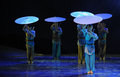 Umbrella queue -The dance drama The legend of the Condor Heroes Royalty Free Stock Photo