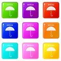 Umbrella and rain drops icons 9 set