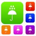 Umbrella and rain drops set collection