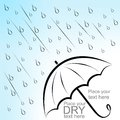 Umbrella and rain dry text under wet Stock Images