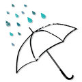 Umbrella in the rain illustration of and raindrops isolated on white background Stock Photos