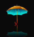 Umbrella with reflection on black background vector Stock Photography