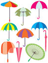 Umbrella set illustration white background Royalty Free Stock Photos