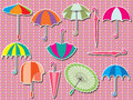 Umbrella set sticker illustration feminine design dotted pink background Stock Images