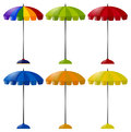 Umbrella in six different colors Royalty Free Stock Photo