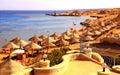 Umbrella and sunbeds on the sandy beach of red sea sharm el sh sheikh egypt may egyptian sheikh egypt Stock Photos