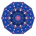 Umbrella template. Flower mandala in blue and pink tones. Mat. Royalty Free Stock Photo