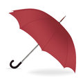 Umbrella vector. Opened red umbrella from the rain with iron handle,