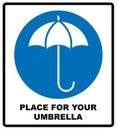 Umbrella with water drops. Rain protection symbol, wet umbrellas. Vector illustration. Royalty Free Stock Photo