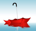 Umbrella on the water illustration of a red Royalty Free Stock Photo