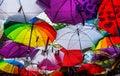 Umbrellas as roof of restaurant terrace Royalty Free Stock Photos