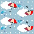 Umbrellas, clouds rain drops - vector, eps