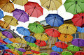 Umbrellas colorful in belgrade serbia Royalty Free Stock Image