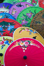 Umbrellas colorful and lovely on display Royalty Free Stock Photos