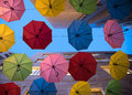 Umbrellas colorful in the street of jerusalem israel Royalty Free Stock Photos