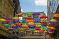 Umbrellas painted hanging out on the streets of the old city of belgrade Royalty Free Stock Image