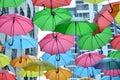 Umbrellas provide some semblance of shade at the walkway in dpac damansara performing arts centre in petaling jaya malaysia Stock Images