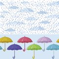 Umbrellas and rain, seamless background Stock Images