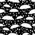 Umbrellas seamless pattern, coloring book, monochrome illustration, vector background. White umbrellas and raindrops on