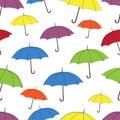 Umbrellas seamless pattern, vector background. Multicolored bright umbrellas on a white background, for wallpaper design
