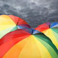 Umbrellas on sky background Royalty Free Stock Photos