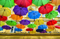 Umbrellas street decoration lots of colorful in the air belgrade serbia Royalty Free Stock Photo