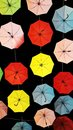 Umbrellas suspended on roof Royalty Free Stock Photos