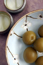 Ume fruit and umeshu wine a traditional japanese aperitif dessert the fruits are pickled in the the served Royalty Free Stock Image