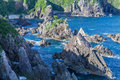 Umikongo big rocks line up in kashinozaki sea oshima island wakayama prefecture japan there are many strange rocks such as Stock Photos