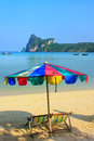 Umrella and sunchairs at Ao Loh Dalum beach on Phi Phi Don Islan Royalty Free Stock Photo