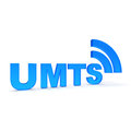 Umts text in blue color Stock Images